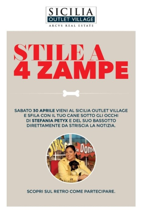 """CANI E PADRONI A SICILIA OUTLET VILLAGE PER UNO """"STILE A 4 ZAMPE"""""""
