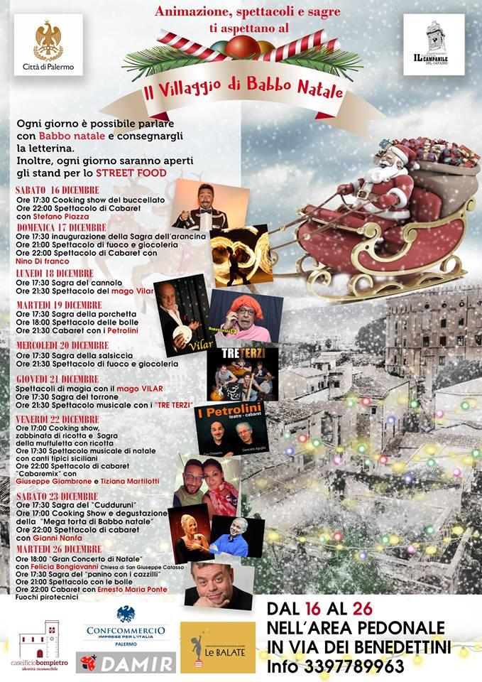 DAL 16 al 26 dicembre, nell'area pedonale di Via dei Benedettini, il Villaggio di Babbo Natale