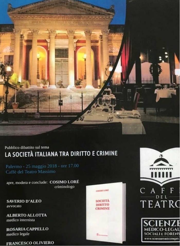 Al Bistrò del Teatro Massimo si parla di diritto e crimine con il criminologo Cosimo Lorè