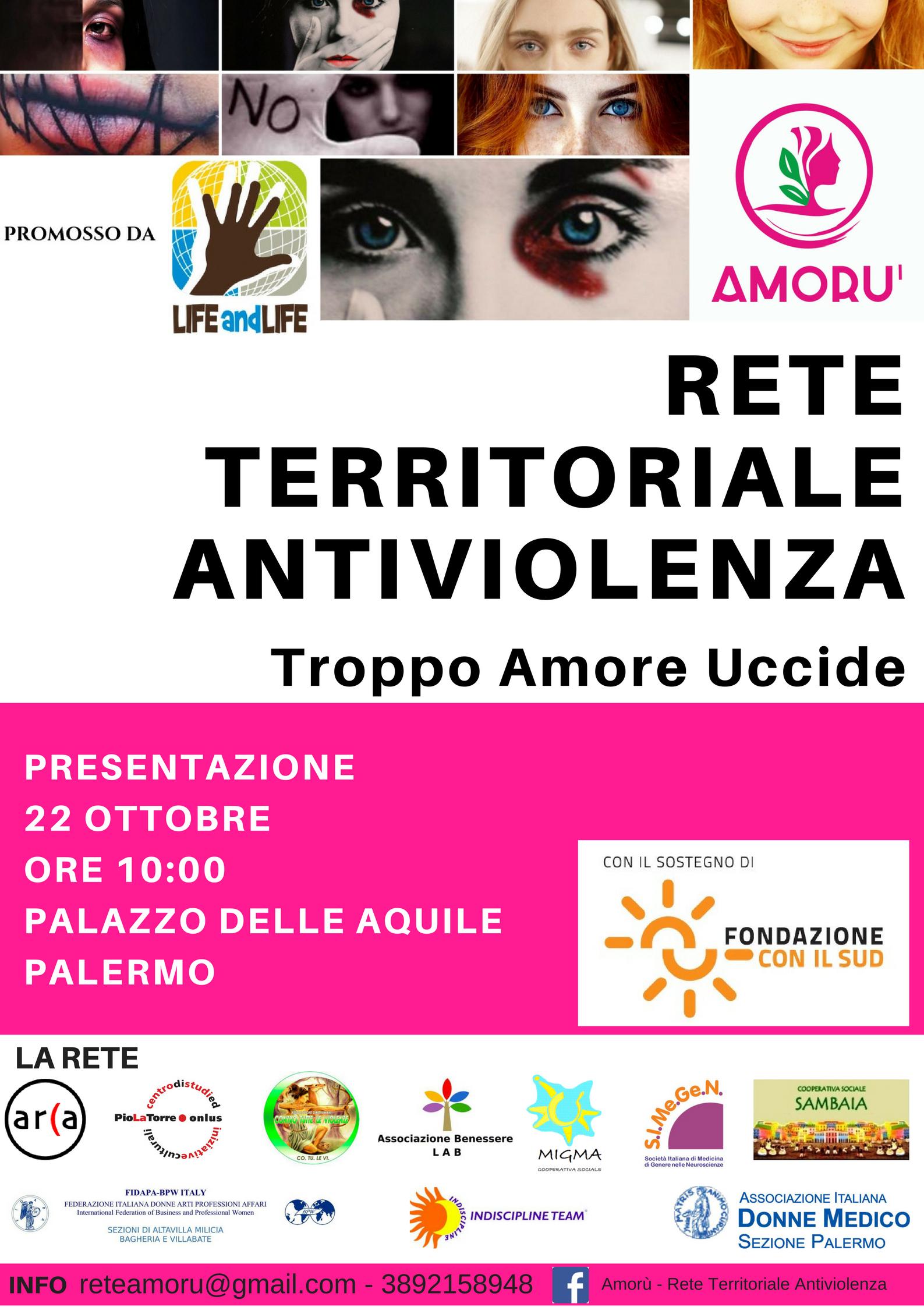 """Nasce """"Amorù"""", nuova rete antiviolenza per i comuni della provincia di Palermo, promossa dalla LIFE AND LIFE e sostenuta da FONDAZIONE CON IL SUD"""