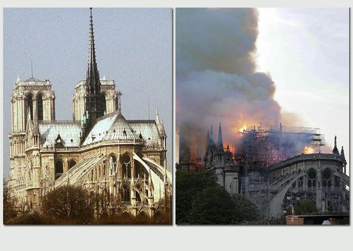 Notre-Dame, prime immagini dell'interno: parte della volta crollata