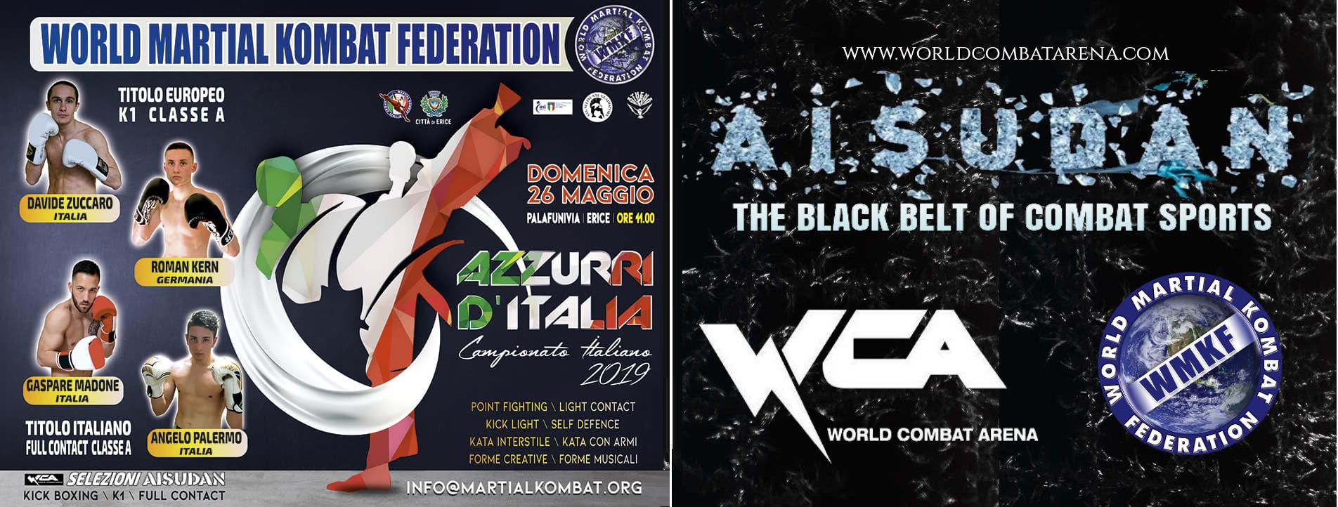 """Kickboxing: a Erice (TP) le qualificazioni al circuito Aisudan della WCA e il campionato Italiano della WMKF """"azzurri d'Italia"""""""