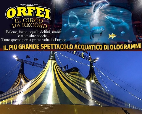 Palermo: per la prima volta in Europa al Circo Nelly Orfei  lo spettacolo acquatico di ologrammi