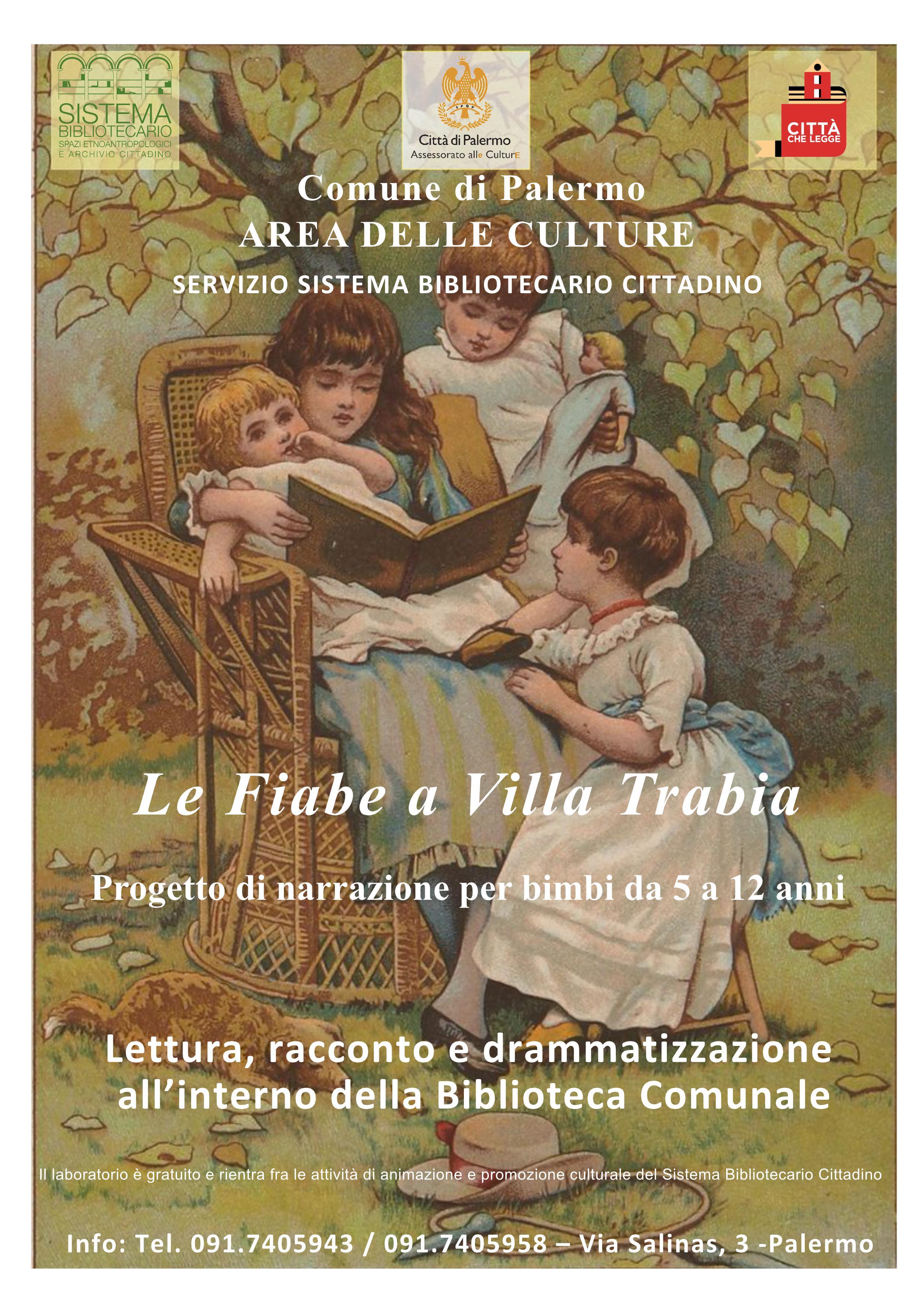 """Al via mercoledì 4 marzo alle 15.30 il laboratorio """"Le Fiabe a Villa Trabia"""""""