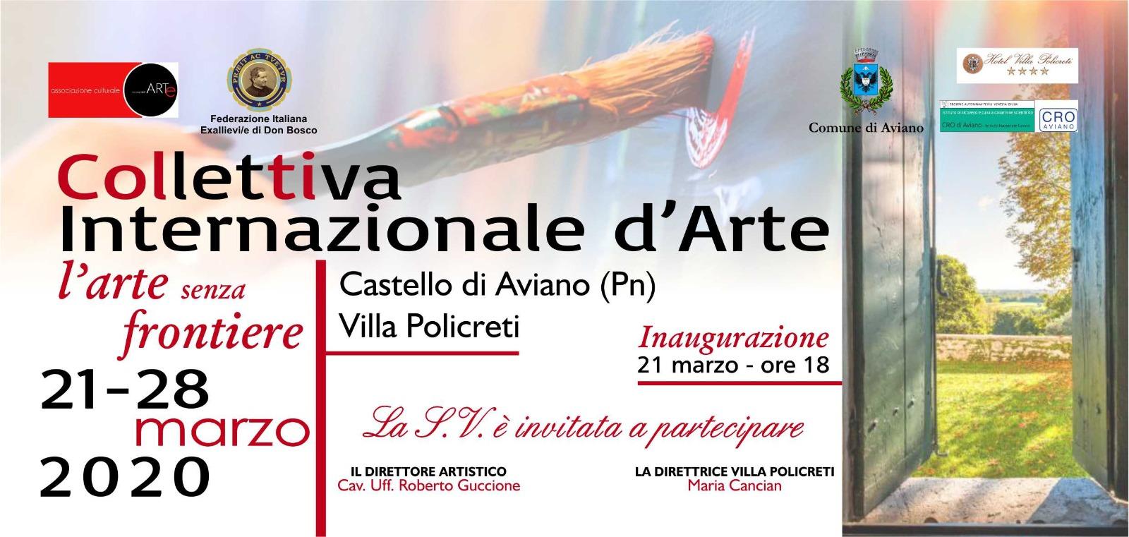 """Aviano: Collettiva Internazionale d'Arte """"L'arte senza frontiere"""""""