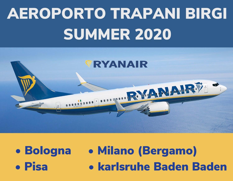 Ryanair riprende i collegamenti da e per l'aeroporto di Trapani con 4 rotte per l'estate 2020
